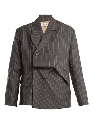 CHARLES JEFFREY LOVERBOY Distressed double-breasted pinstripe wool blazer