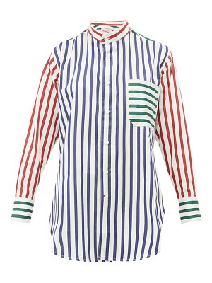 CHARLES JEFFREY LOVERBOY band collar striped cotton shirt
