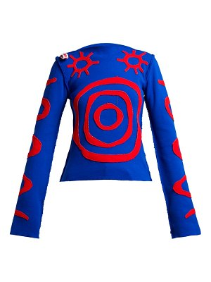 CHARLES JEFFREY LOVERBOY circle and sun graphic knitted top