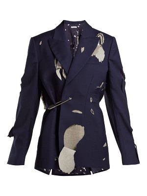 CHARLES JEFFREY LOVERBOY Hole cut-out safety-pin wool blazer