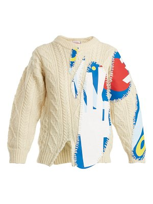 CHARLES JEFFREY LOVERBOY Print-appliqué cable-knit wool-blend sweater