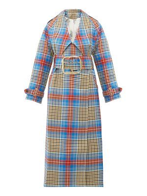 CHARLES JEFFREY LOVERBOY tartan wool twill trench coat
