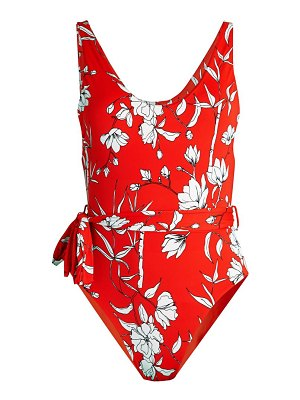 Charlie Holiday Saffron Belted Floral One-Piece Swimsuit