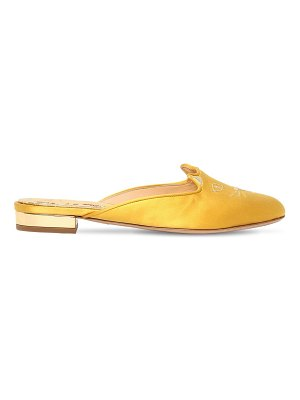Charlotte Olympia 10mm kitty satin mules