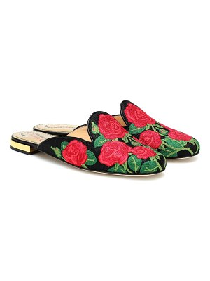 Charlotte Olympia Embroidered canvas slippers