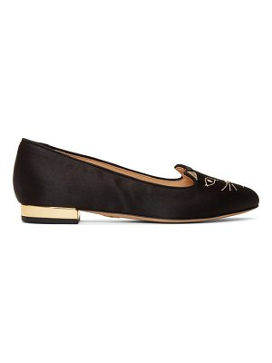 Charlotte Olympia Exclusive Black Satin Kitty Loafers
