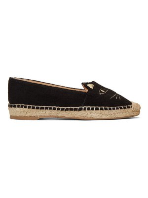Charlotte Olympia Exclusive Black Towelling Kitty Espadrilles