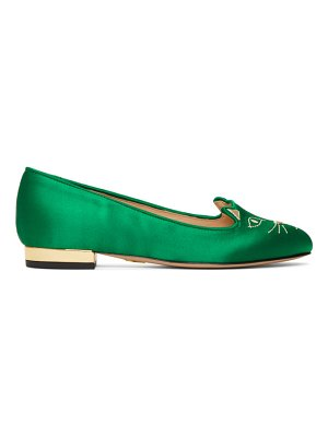 Charlotte Olympia Exclusive Green Satin Kitty Loafers
