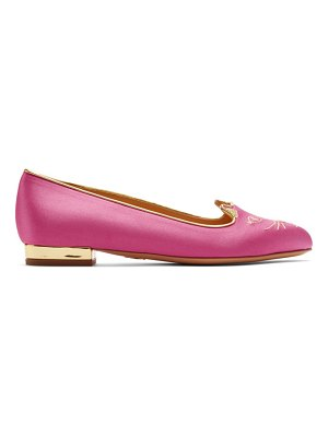 Charlotte Olympia Exclusive Pink Satin Kitty Slippers
