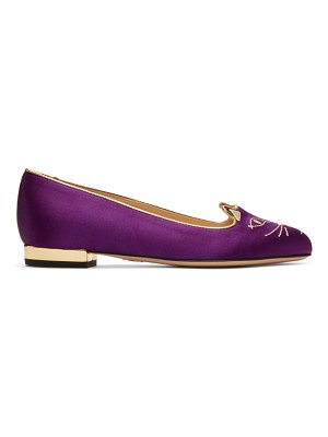 Charlotte Olympia Exclusive Purple Satin Kitty Slippers