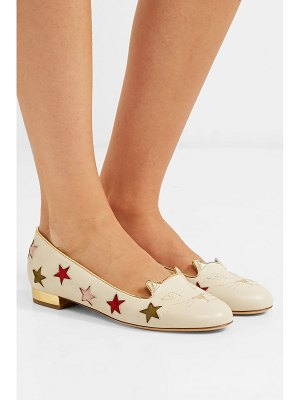 Charlotte Olympia kitty cutout embroidered leather slippers