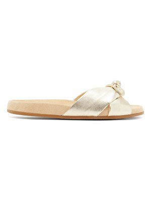 Charlotte Olympia knotted metallic-leather slides