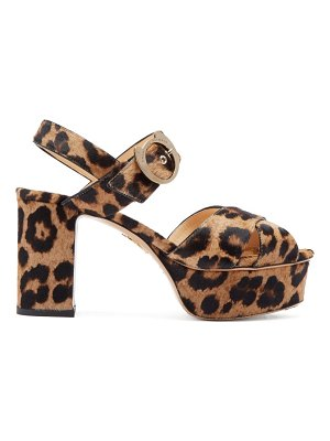 Charlotte Olympia leopard print calf hair platform sandals
