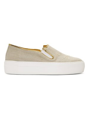 Charlotte Olympia Linen Cool Cats Sneakers