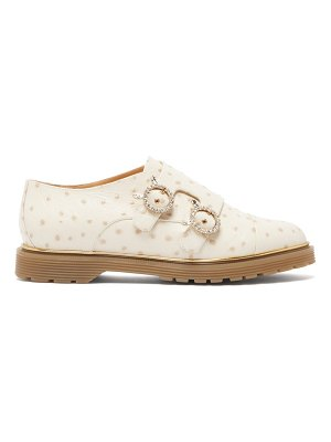 Charlotte Olympia ostrich effect leather double monk strap loafers