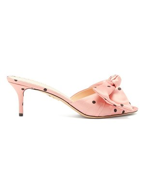 Charlotte Olympia polka-dot knotted-satin mules