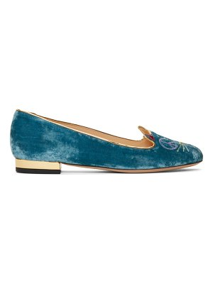 Charlotte Olympia Velvet Peaceful Kitty Loafers