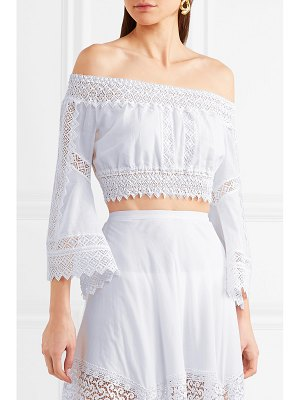 Charo Ruiz atria off-the-shoulder crocheted lace-paneled cotton-blend top