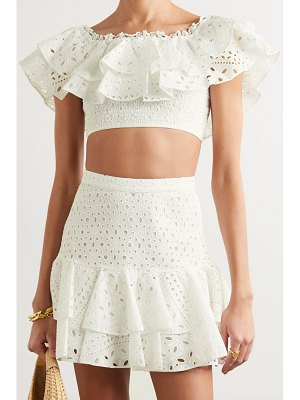 Charo Ruiz barbara off-the-shoulder cropped broderie anglaise cotton-blend top