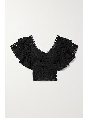 Charo Ruiz belle cropped ruffled crochet-trimmed broderie anglaise cotton-blend top