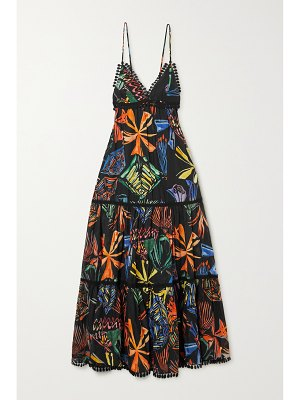 Charo Ruiz camille guipure lace-trimmed printed cotton-blend voile maxi dress