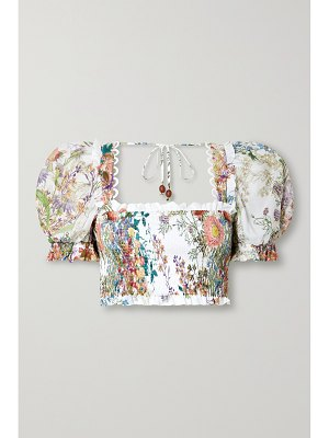 Charo Ruiz judy cropped picot-trimmed shirred floral-print cotton top