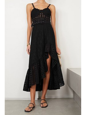Charo Ruiz julie belted broderie anglaise cotton-blend midi dress