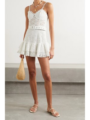 Charo Ruiz marianne belted ruffled broderie anglaise cotton-blend mini dress