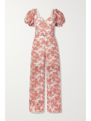 Charo Ruiz pippa belted printed broderie anglaise cotton-blend jumpsuit