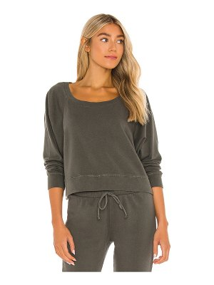 Chaser cotton fleece cropped batwing raglan pullover