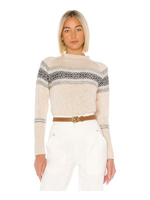 Chaser fair isle mock neck pullover sweater