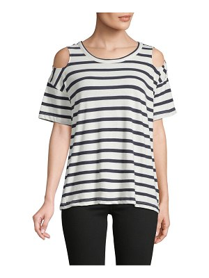 Chaser Striped Cold-Shoulder Cotton Tee