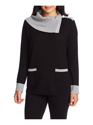 Chaus colorblock two-pocket cotton sweater