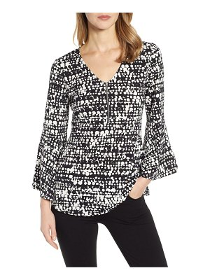 Chaus colorful texture bell sleeve zip front top