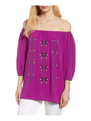 Chaus embroidered off the shoulder blouse