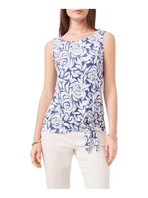Chaus floral sleeveless tie front top