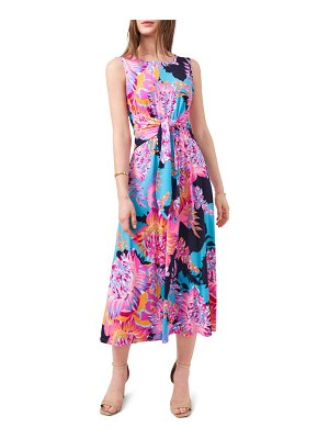 Chaus floral tie front sleeveless jersey dress