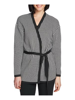 Chaus houndstooth belted cotton cardigan