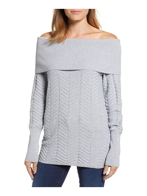 Chaus off the shoulder chevron cotton sweater