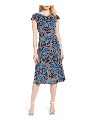 Chaus pacific blooms stretch jersey ruched dress