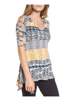 Chaus patchwork cutout sleeve tunic top