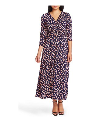 Chaus peony print ruched midi dress