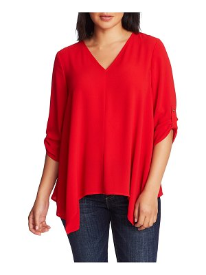 Chaus roll tab crepe blouse