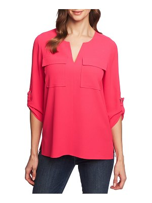 Chaus roll tab two-pocket blouse