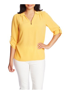 Chaus topstitch detail roll tab sleeve blouse