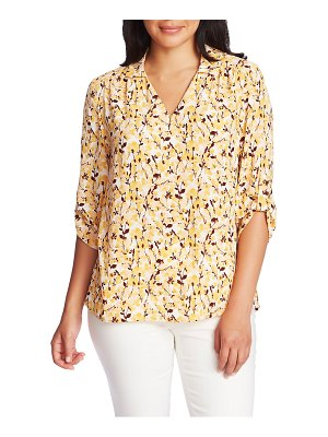 Chaus watercolor roll tab sleeve blouse