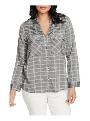 Chaus yarn dyed plaid two-pocket button front shirt