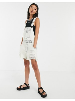 Cheap Monday chore distressed short overalls-white