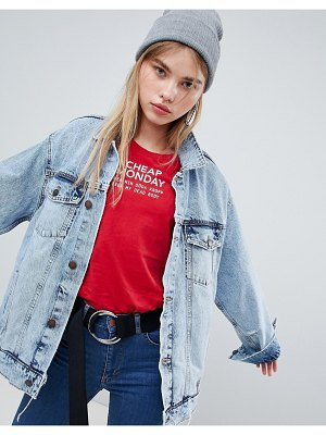 Cheap Monday oversized trucker jacket with destroyed detail