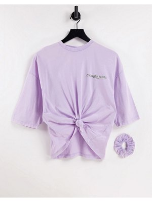Chelsea Peers organic cotton acid wash crop knot front tee with scrunchie in lilac-purple